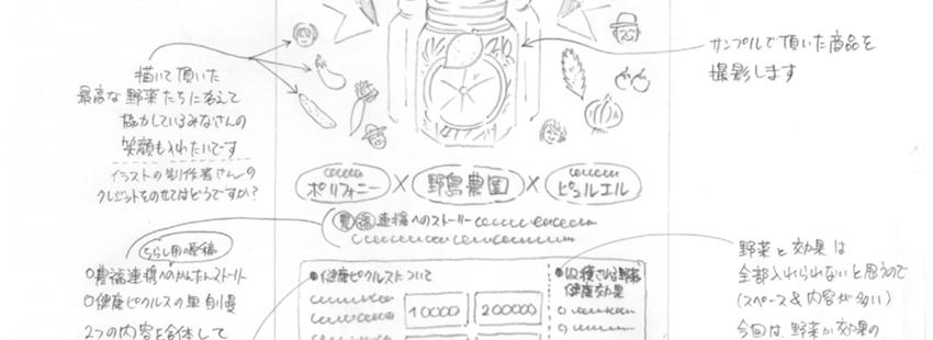 ピクルスチラシのラフスケッチ